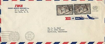 UNITED NATIONS - #17 - 3c UNIVERSAL POSTAL UNION PAIR ON TWA AIRMAIL COVER