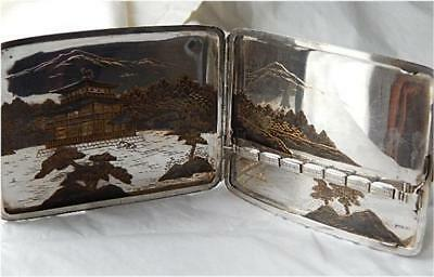 Amazing Signed 950 Sterling Japanese Scenic Cigarette Case