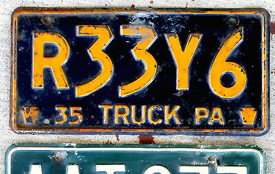 1935 Orange on Blue Pennsylvania Truck License Plate