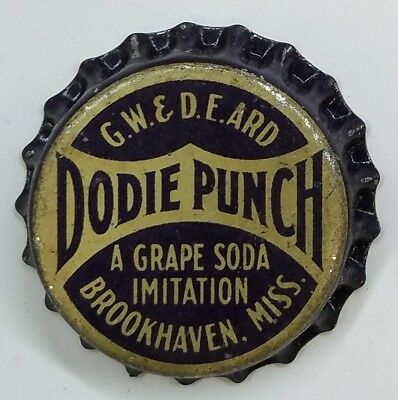 DODIE PUNCH Soda Bottle Cap Crown UNUSED CORK Caps BROOKHAVEN, MISS