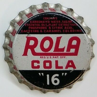 "ROLA COLA ""16"" Soda Bottle Cap Crown UNUSED CORK Caps"