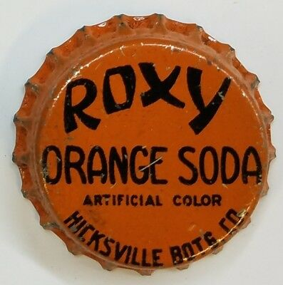 ROXY ORANGE HICKSVILLE BOTG WKS Soda Bottle Cap Crown USED CORK Caps