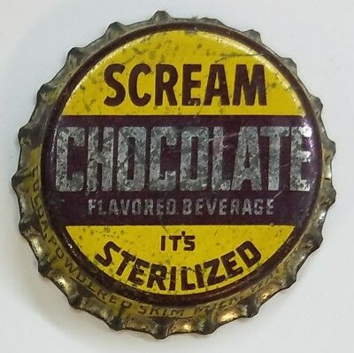 SCREAM CHOCOLATE Soda Bottle Cap Crown USED CORK Caps