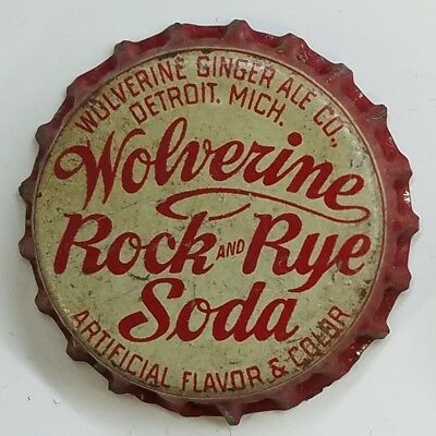WOLVERINE ROCK & RYE Soda Bottle Cap Crown USED CORK Caps