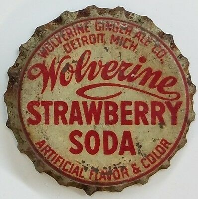 WOLVERINE STRAWBERRY Soda Bottle Cap Crown USED CORK Caps