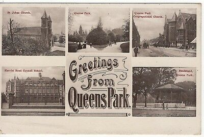 Greetings Postcard With Views Of Queens Park London Old Postcard Posted 1907