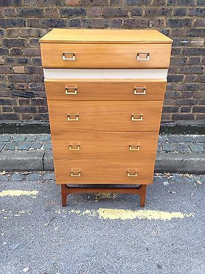 Mid Century Meredew 1960s Maple Chest Of Drawers Tall Boy Vintage Retro