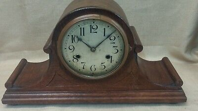 Hamburg American Westminster Chime Oak Case Mantel or Shelf Clock