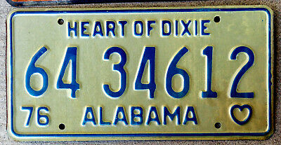 1976 Blue on White Alabama License Plate