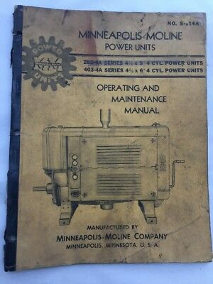 Vintage Minneapolis-Moline 283-4A 403-4A Power Unit Operating Maintenance Manual