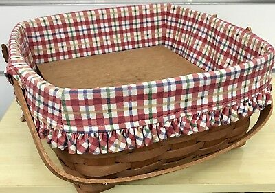 Longaberger Cake Basket with Riser and Cherry Red Plaid 1989