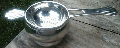 Vintage art deco Tea Strainer Silver Plated EPNS & Drip Tray for Loose Tea