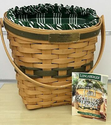 Longaberger Christmas Green Glad Tidings Basket Combo 1998 Edition