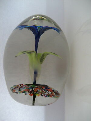 Strathearn Glass Broad Dump Shaped Upright Flower Paperweight, Crushed Cane Base
