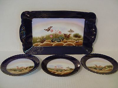 Vintage Sonneberg Porcelain Tray And 3 Matching Plates Cobalt Blue And Floral