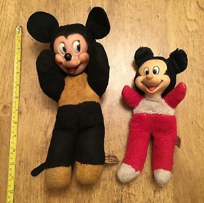 2 VINTAGE MINNIE or MICKEY MOUSE ?? NOT SURE , SOFT TOY HARD FACE, 1 IS SEMCO