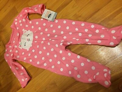 B79 NEW Carters 6M 6 Months Baby Girl Footed Sleeper Pajama Cat Pink Polka Dot