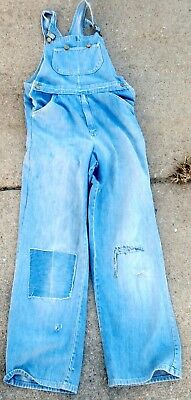 MR. LEGGS Vintage 1970's BIB OVERALLS; 32x29; Distressed, Faded & Patched