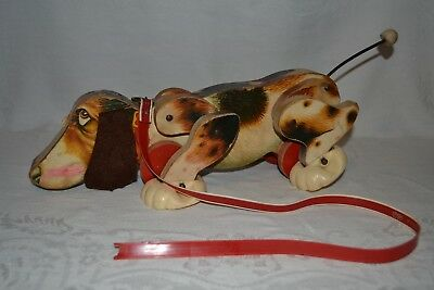 Vintage 1961 Fisher Price Snoopy Wooden Dog Pull Along Toy Dog #181