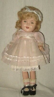"1940's Composition unsigned Shirley Temple doll- 12""- Vogue dress"