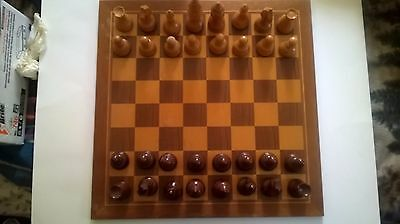 Wooden Chess Board & Pieces Hand Carved 18 1/2 in. Board, 31/2-4 in. pieces