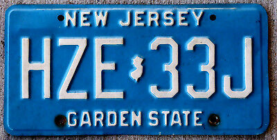 Cream on Light Blue New Jersey License Plate