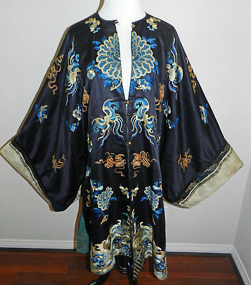 Antique 19th Imperial Qing Chinese Blue Silk Embroidery Robe Flowers Nobels WOW