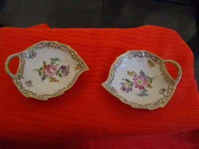 Pair Dresden  hand painted pin dishes