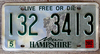 """New Hampshire """"Old Man of the Mountain"""" License Plate with a 2002 Sticker"""