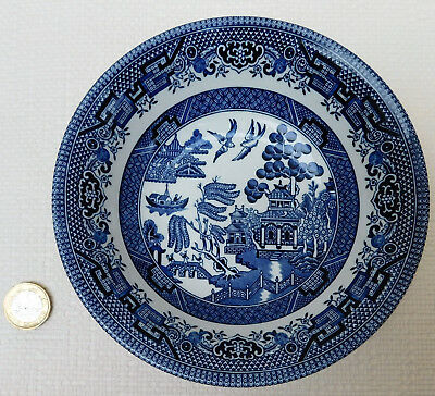 """Churchill Willow Pattern dessert bowl blue and white tableware 6"""" cereal dish"""