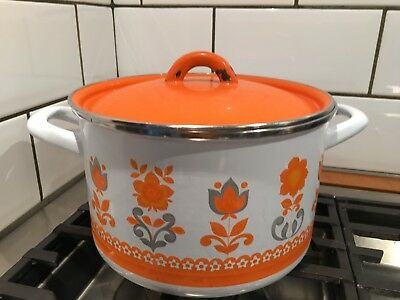 Vintage Retro Orange Enamel Large Saucepan