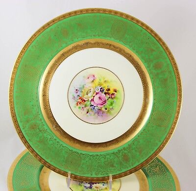 Pickard Set 11 Dinner Plates Hand Painted Heinrich Gold Encrusted Green Flowers