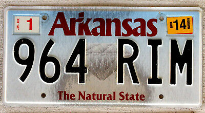 """Arkansas """"The Natural State"""" License Plate - Diamond Version with a 2014 Sticker"""