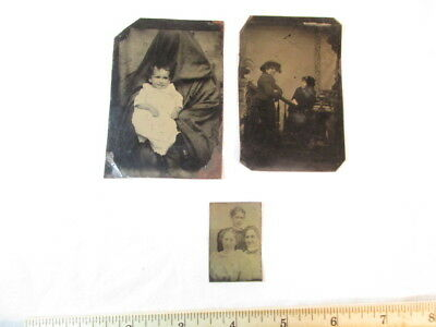 Antique Tintype Photo Lot Of 3 Photos Three Women Creepy Baby Old Metal Pictures