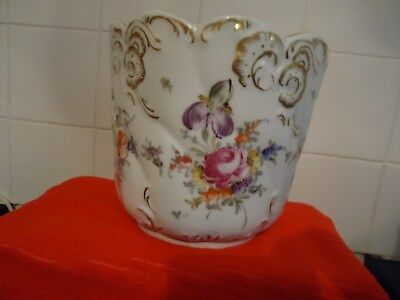 large  Dresden  hand painted plant pot
