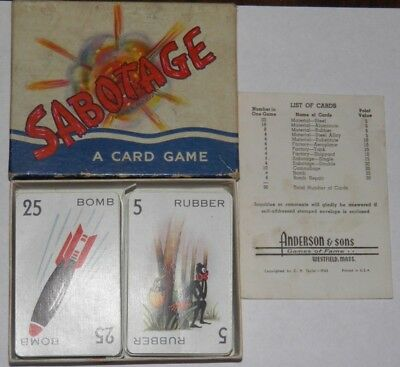1943 World War II Sabotage Card Game Complete w/Instructions