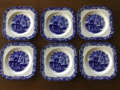 6 George Jones & Sons pottery square side plates. Abbey 1790 pattern. Flow blue.
