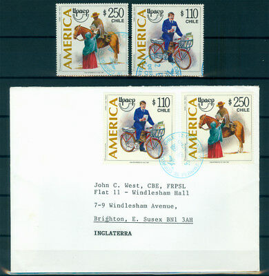 CHILE 1997 AMERICA Issue  used set + cover   Sc# 1225-1226  used VF