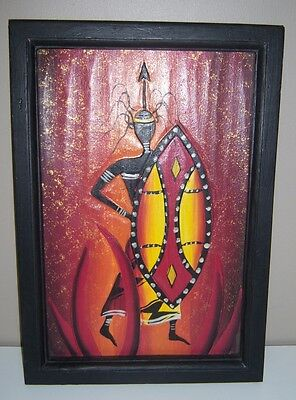 Wood Carved African Warrior Picture and Frame - NEW