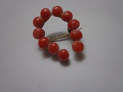 Antique Victorian Horseshoe Red Coral Brooch