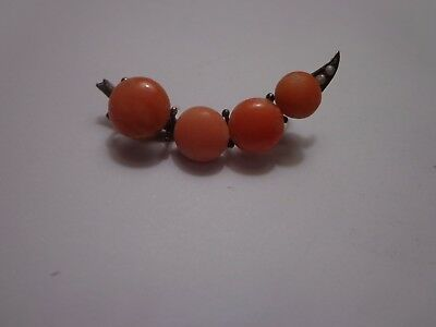 Antique Victorian Coral Brooch As Is