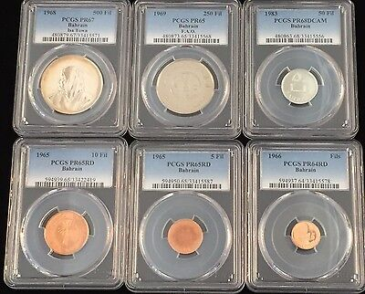 Set/6 1965-1983 Bahrain 1/5/10/50/250/500 Fils Pcgs Proof Pr64-68