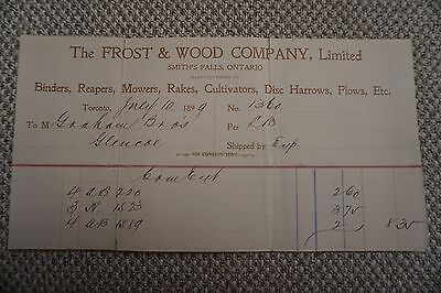 Frost & Wood Company Business Invoice - Smith's Falls, ON - July 10, 1899