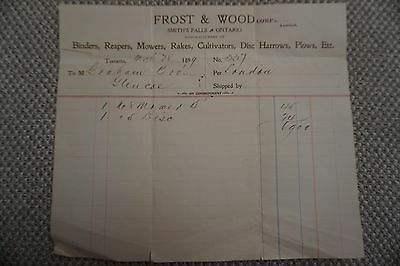 Frost & Wood Company Business Invoice - Smith's Falls, ON - March 28, 1899