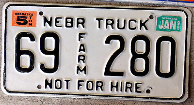 Black & White Nebraska 5 Ton Not for Hire Farm Truck License Plate 1999 Sticker