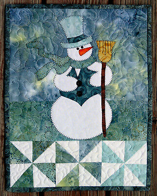 Handcrafted Quilted Appliqued Wall Hanging WINTER SNOWMAN BROOMSTICK BLUE
