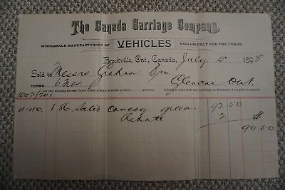Canada Carriage Company Business Invoice - Brockville, ON - July 15, 1898