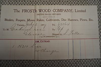 Frost & Wood Company Business Invoice - Smith's Falls, ON - July 3, 1899