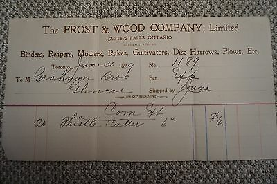 Frost & Wood Company Business Invoice - Smith's Falls, ON - June 30, 1899