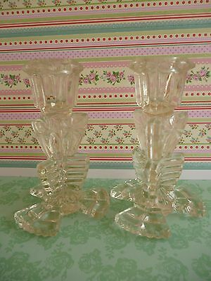 Glass Candlesticks Pair Clear Pressed Glass Art Deco Style Vintage